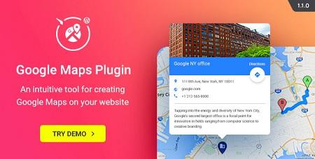 افزونه نقشه گوگل WP Google Maps وردپرس نسخه ۱٫۱٫۰