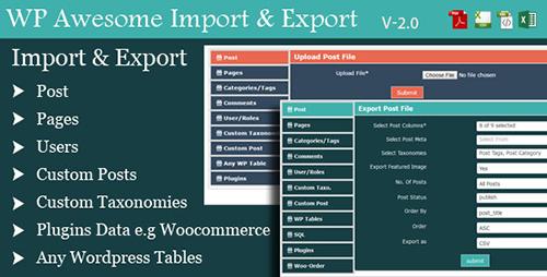 افزونه درون ریز و برون بر Awesome Import & Export وردپرس نسخه ۲٫۷
