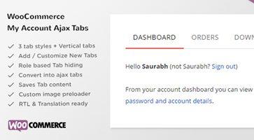 افزونه تب سفارشی حساب کاربری SS WooCommerce Myaccount Ajax Tabs ووکامرس نسخه 1.7.10