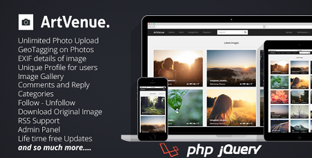 اسکریپت شبکه اجتماعی اشتراک عکس ArtVenue نسخه 5.0.2