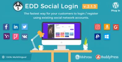 افزونه ورود به Easy Digital Downloads از طریق شبکه های اجتماعی نسخه 2.1.3