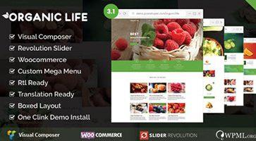 پوسته محصولات ارنگانیک Organic Life وردپرس نسخه 3.1