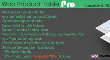 افزونه جدول سفارش محصولات Woo Products Table Pro ووکامرس نسخه 5.2