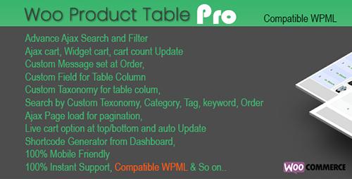 افزونه جدول سفارش محصولات Woo Products Table Pro ووکامرس