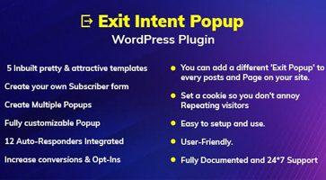 افزونه نمایش پاپ آپ هنگام خروج از سایت Exit Intent Popup وردرپرس نسخه 1.0.0