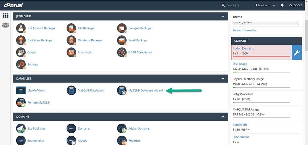 ساخت دیتابیس از طریق ماژول MySQL® Database Wizard در هاست cpanel