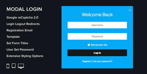 افزونه Modal Login Register ثبت نام و ورود پاپ آپ وردپرس