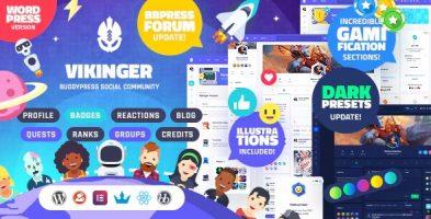 پوسته بادی پرس و شبکه اجتماعی Vikinger وردپرس نسخه: 1.3.5