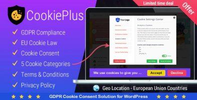 افزونه موافقت فعال سازی کوکی Cookie Plus GDPR در وردپرس نسخه 1.5.6