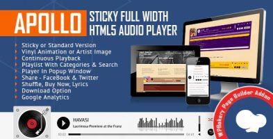 افزونه پخش کننده موسیقی تمام عرض Apollo وردرپرس نسخه 2.1.0