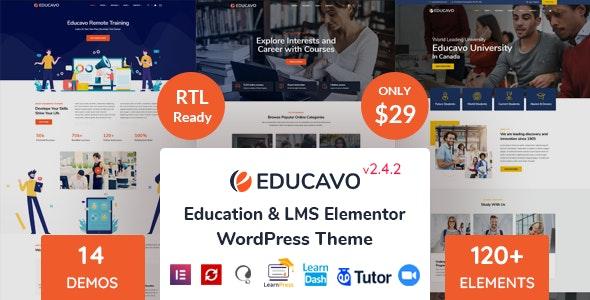 قالب آموزش آنلاین Educavo وردپرس