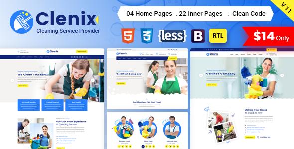 قالب خدمات نظافتی Clenix وردپرس