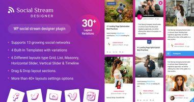 افزونه گالری شبکه های اجتماعی  WP Social Stream Designer وردپرس نسخه 1.1.5