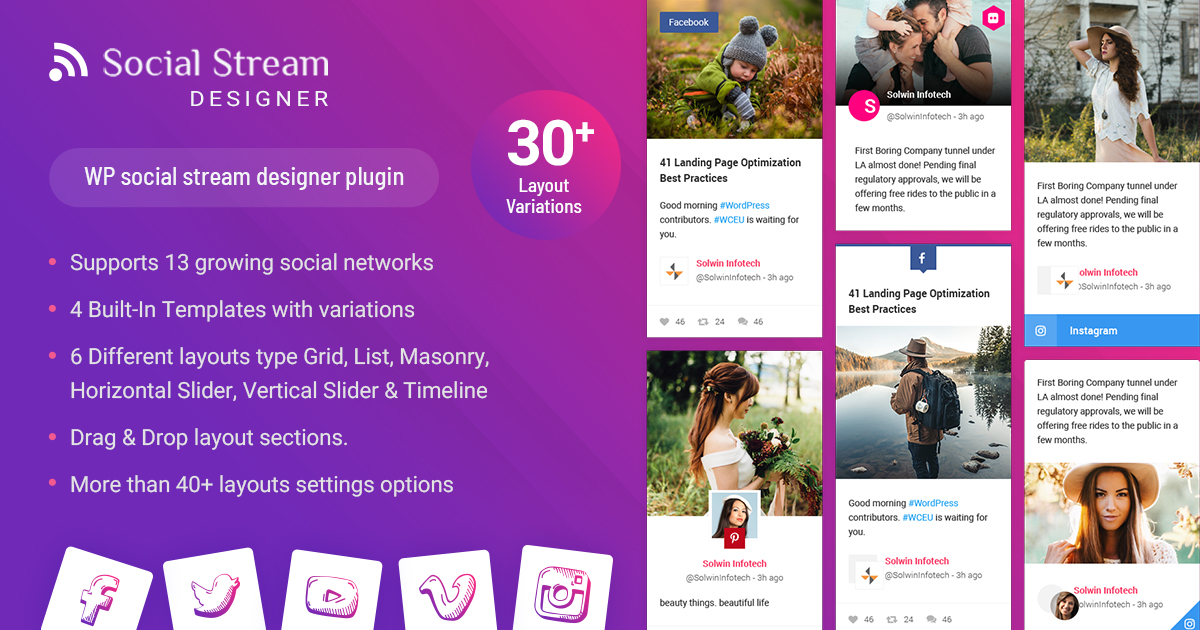 افزونه گالری شبکه های اجتماعی WP Social Stream Designer وردپرس