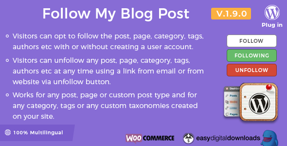 افزونه دنبال کردن رویداد مطالب Follow My Blog Post وردپرس نسخه 2.1.0