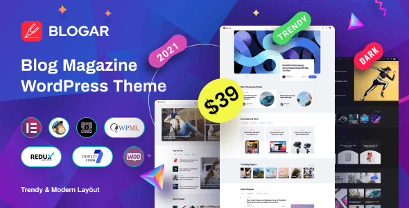قالب مجله و وبلاگ Blogar وردپرس نسخه 1.2.0
